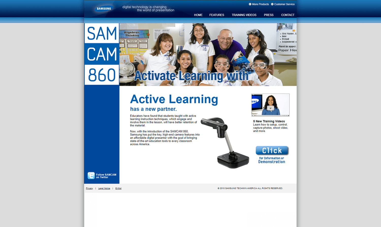 Samsung Website for SamCam 860