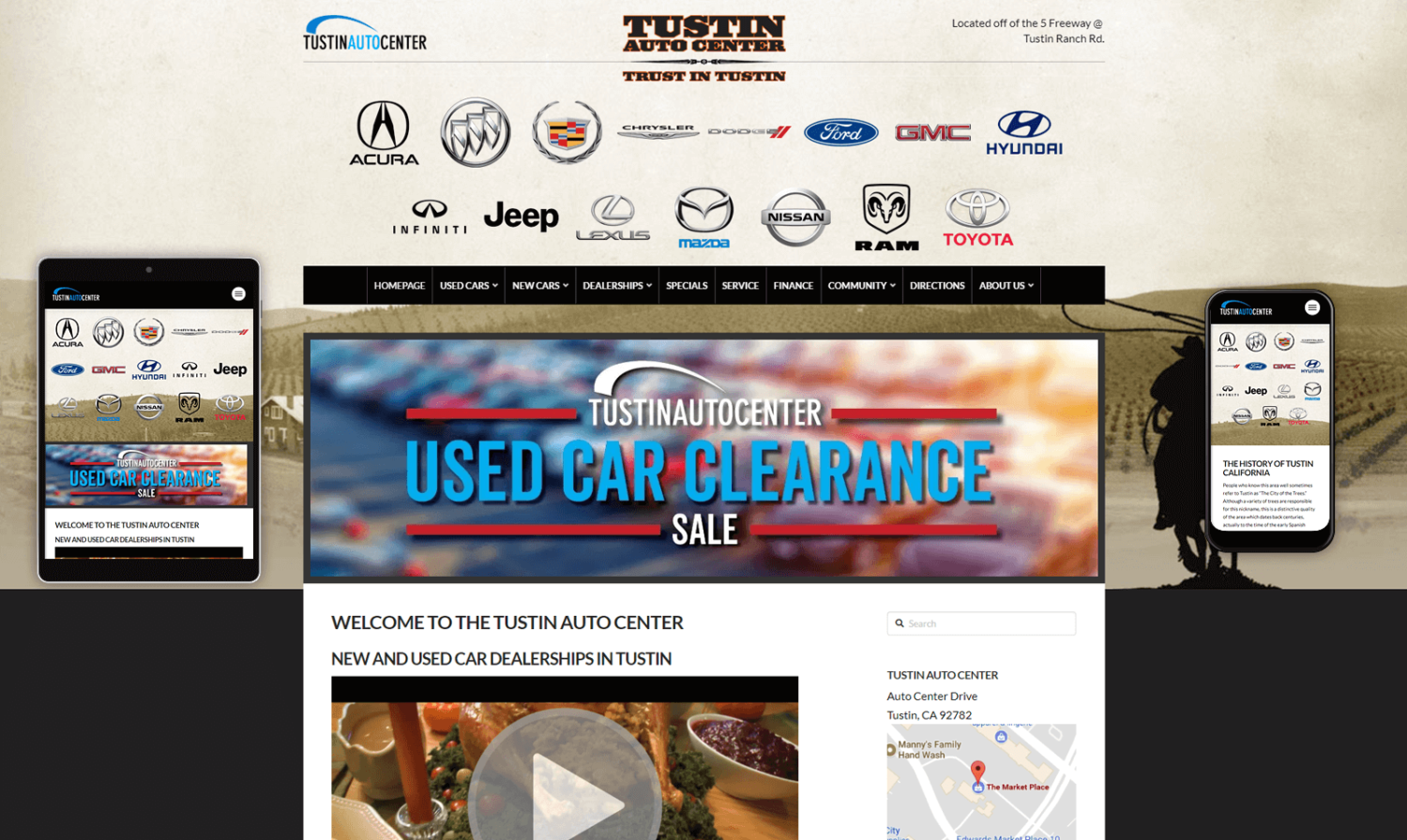 Tustin Auto Center Website